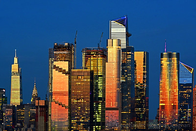 Hudson Yards Towers NYC at Sundown