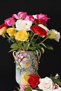 Rose Bouquet and Vase on Black