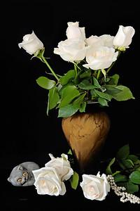 White Rose Bouquet on Black Still Life