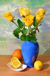 Yellow Rose and Lemon Still Life