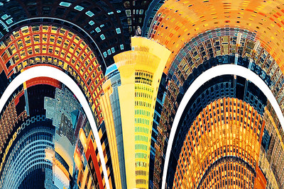 City Architecture Abstract in Sundown Colors