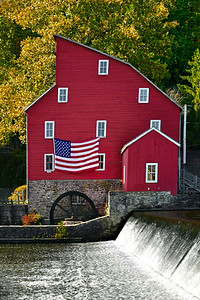 Clinton Red Mill and American Flag