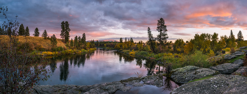 Spokane River Sunset Panorama