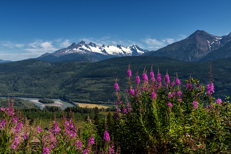 Skeena river and the Seven Sisters Mountain Range