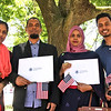 A happy and proud family, the dad and mom received their US Citizenship, L-R, Rifa Rahman, her dad, Mofizur Rahman and mom, Jusna Rahman, and her brother Arfat Rahman all from Sommerville. SUN/David H. Brow
