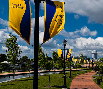 Carroll Creek Park, in Frederick, Maryland, stands ready for a gentle strole or bike ride.