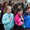 The Town of Billerica held a groundbreaking ceremony for the new Billerica Memorial High School on Monday afternoon. The new school is being built in the fields behind the old one. Student government students from all of the elementary schools led the Pledge of Allegiance at the ceremony. SUN/JOHN LOVE