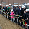 The Town of Billerica held a groundbreaking ceremony for the new Billerica Memorial High School on Monday afternoon. The new school is being built in the fields behind the old one. Many took park in the tossing of the dirt at the ceremony. SUN/JOHN LOVE