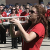 "A member of the Anchor Bay marching band plays ""Taps."" The band is a crowd favorite during the Memorial Day parade each year. (Photo by Dave Angell)"