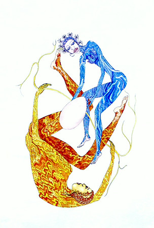 """Roots of Life in the Beginnings"" (ink and tempera on paper) by Lola Lonli"