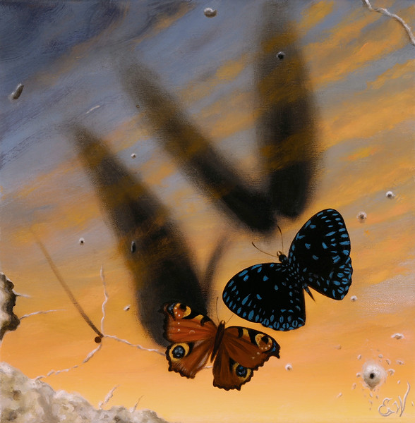 """Butterfly Sunrise"" (oil on linen) by Elizabeth Weiss"