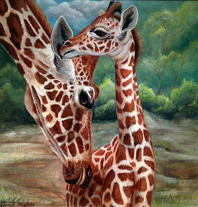 """Giraffe's Mom and Baby Love"" (acrylic on board) by Sheryl Hughes"
