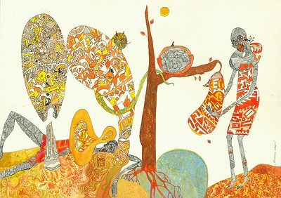 """Temptation with Fruit"" (ink and tempera on paper) by Lola Lonli"