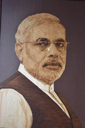 """India ""MODI""fied"" (collage-wheat sticks) by Ramesh Baheti"