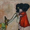 """Nicola and her Fawn"" (oil on canvas) by Christy Boyer"