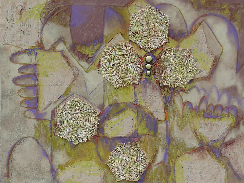 """Pinwheels"" (mixed media collage) by Becky Roesler"