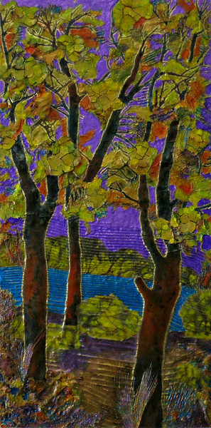 """Cloisonné Purple Sky #1"" (mixed media on birch) by Carla Carlson"