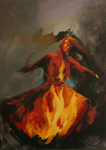 """Fire Within"" (oil and acrylic on canvas) by Rahileh Rokhsari"