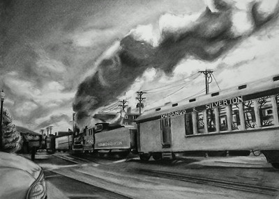 """Bound for Silverton"" (charcoal) by Luke Engle"