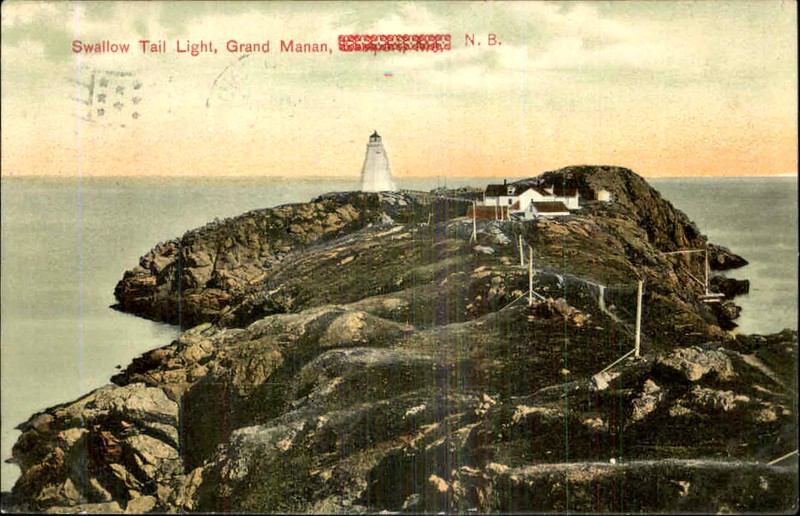 Old postcard view of the Swallowtail Lighthouse station