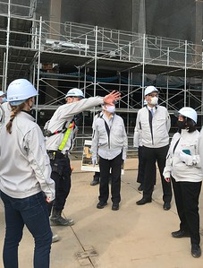 Taisei Corp. construction manager Watanabe-san guided YIS board directors on a recent tour of the site.