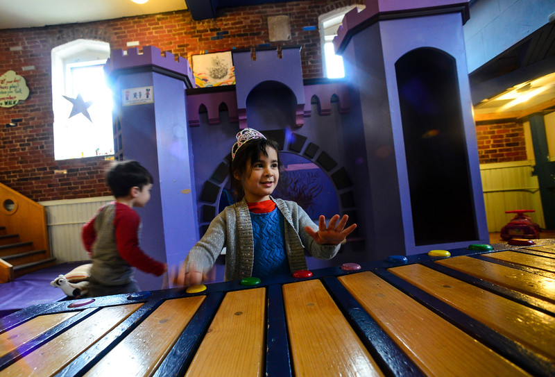 KRISTOPHER RADDER - BRATTLEBORO REFORMER<br /> Harper Ethier, 5, of Brattleboro, plays inside the new castle at KidsPLAYce on Tuesday, Feb. 6, 2018.