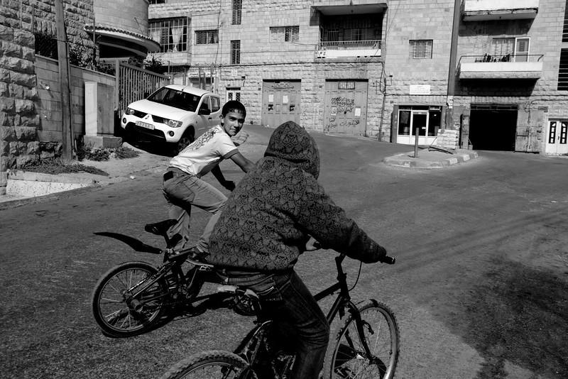 Teenagers on bikes