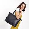 "Mayfair; Luxe Leather; Maddox; Tote; 15""; 120-204BLK; On the model"