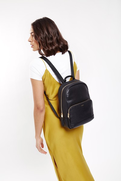 "Mayfair; Luxe Leather; Mini Mount; Backpack; 10"";120-405-BLK; On the model"