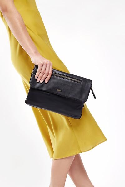 "Mayfair; Luxe Leather; Elektronista; Digital Clutch Bag; 10""; 120-047-BLK; On the model"