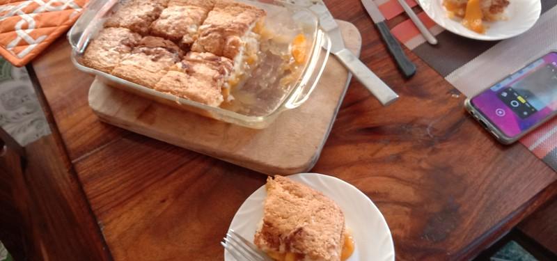 fresh baked peach cobbler
