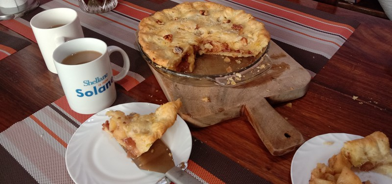 Hot coffee and Fresh baked apple pie