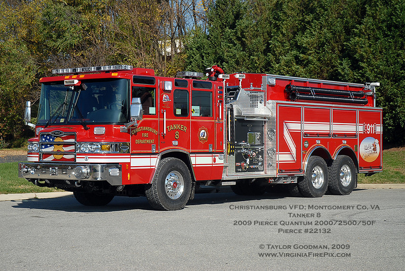 The Christiansburg Fire Department will employ this big Quantum pumper/tanker as Tanker 8.  It will replace a dual-axle Lance pumper/tanker.
