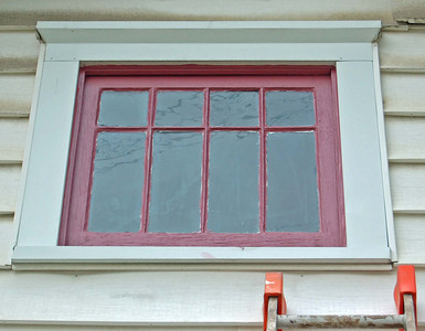 Rehabbed window, front gable.