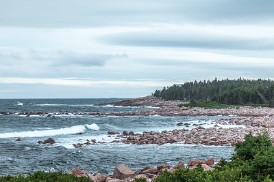 A view of the Atlantic coast of Cape Breton Island from Green Cove on the Cabot Trail, Cape Breton Highlands National Park, Nova Scotia, Canada.