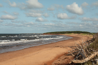 An afternoon view of the Atlantic Ocean coast from Robinson's Island, Prince Edward Island National Park, near North Rustico,  PEI,  Canada.