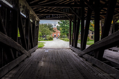 Shelburne Museum - Meeting House from Inside Covered Bridge