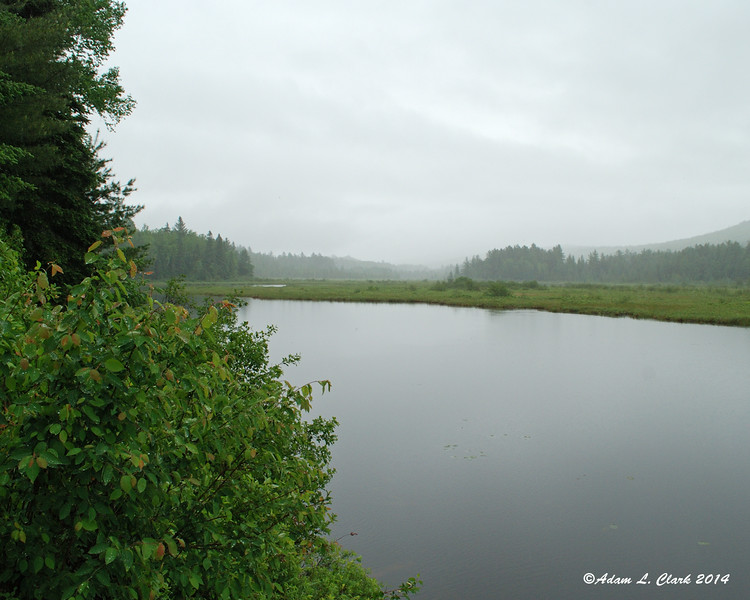 Stratton Brook Pond with cloudy and drizzly skies