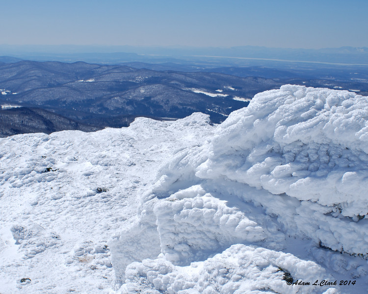 Snow and rime on the summit