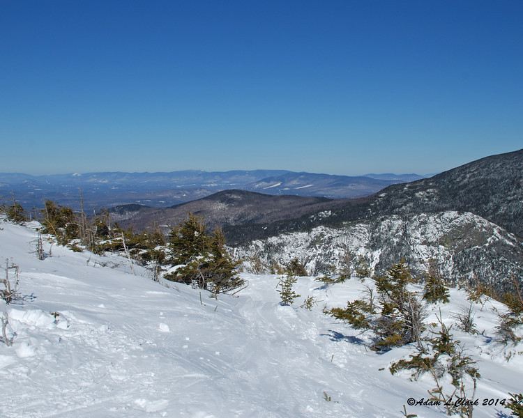 A view north over the upper end of the notch with the Pilot and Pliny Ranges in the distance
