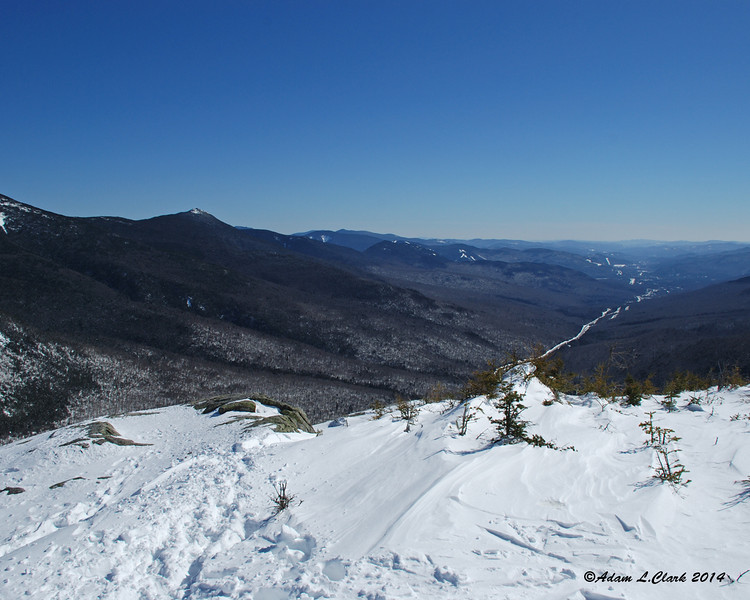 A view point to the side of the trail provides a nice look down into Franconia Notch