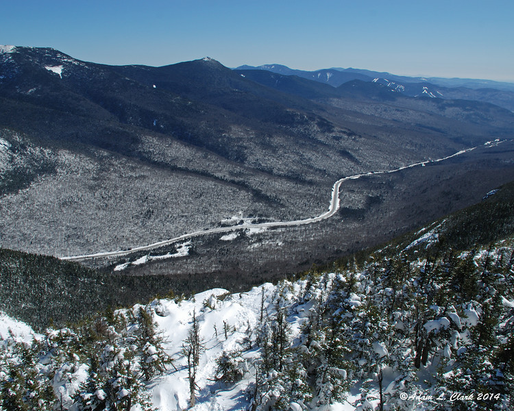 Looking down the mountain side into Franconia Notch