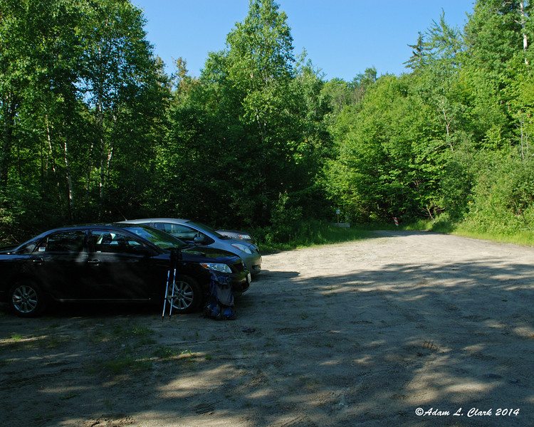 Parking at a large pull off on Caribou Valley Road.  I learned two weeks ago that my car doesn't have the ground clearance to make it quite all the way to the trail crossing