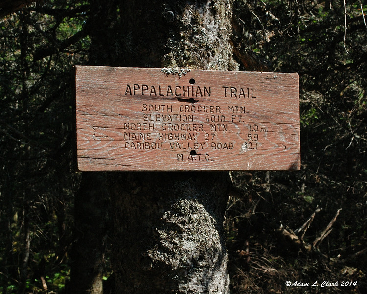 The trail sign at the intersection with the short path to the South Crocker summit