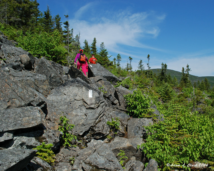 Some other hikers heading over an open rocky area