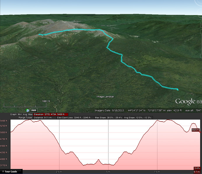 A Google Earth representation of day 2 of the hike... out and back from the left to the right