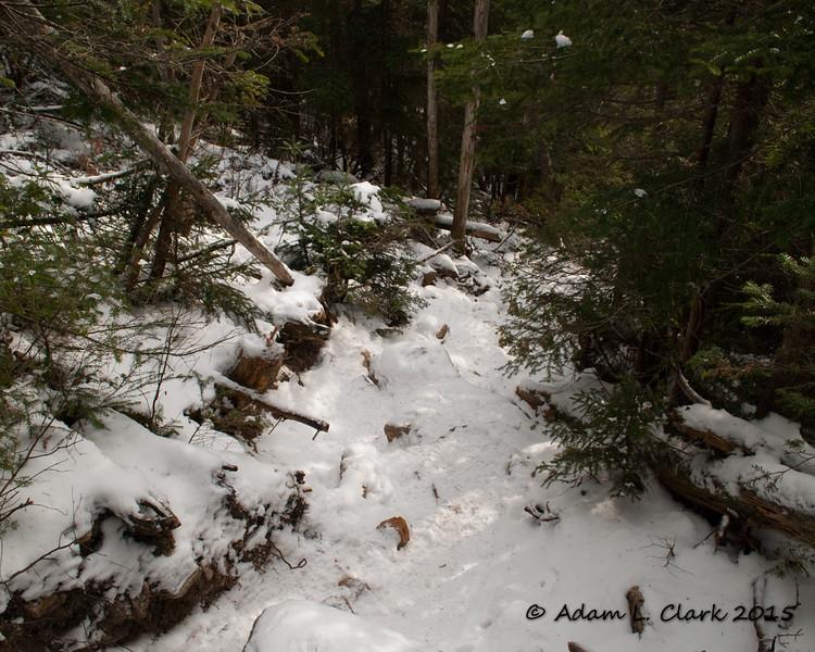 Heading down the steep trail on North Hancock