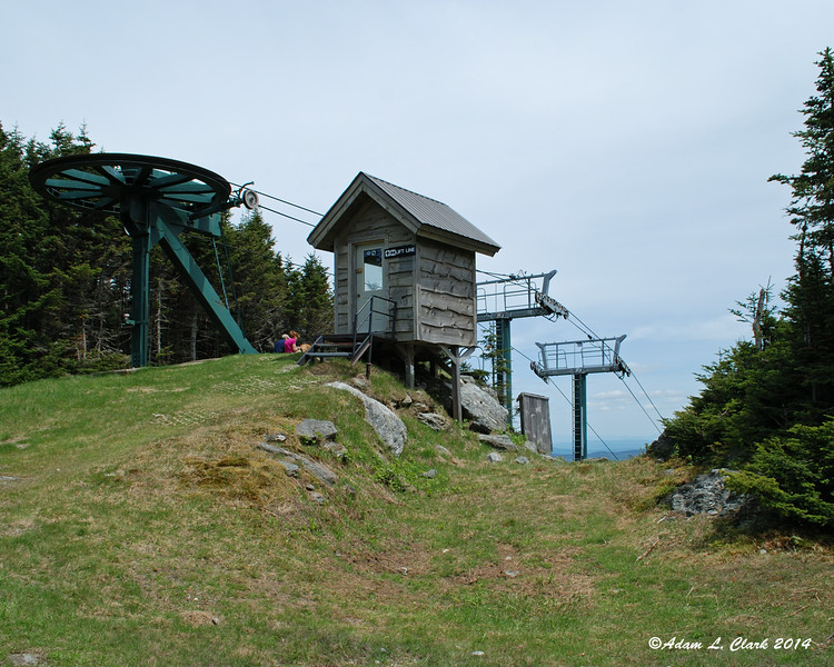 At the top of one of the ski lifts for Sugarbush