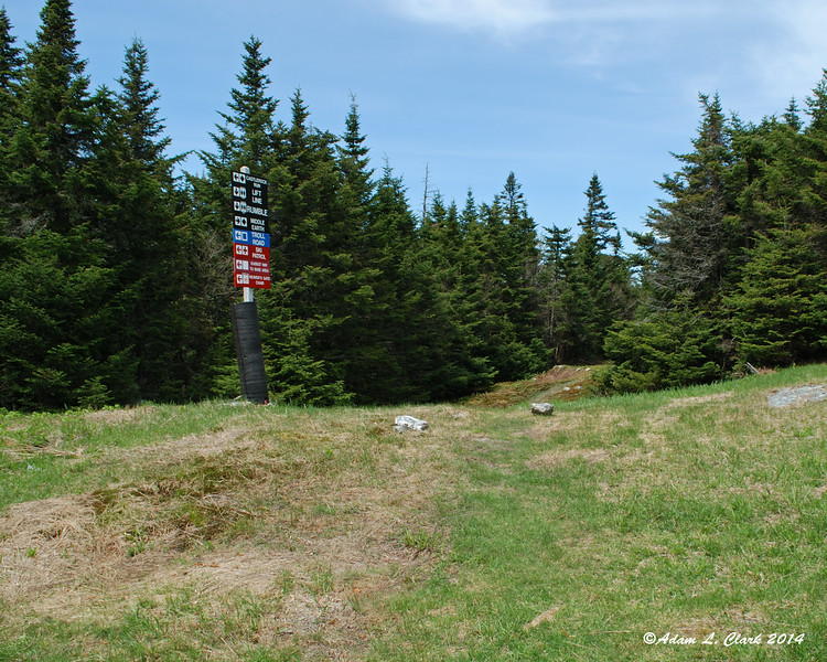 The hiking trail actually follows a ski trail for a short distance