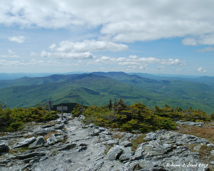 Looking back down the trail from the small above treeline summit of Mt. Abraham